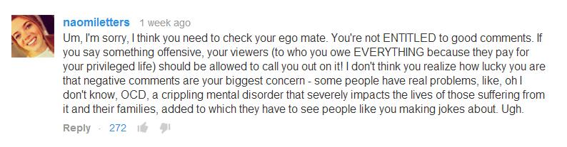 Alfie needs to check his ego.