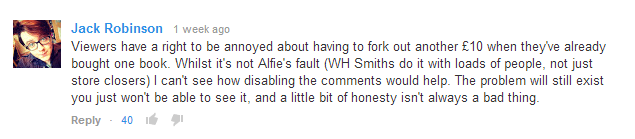 Viewer annoyed at Alfie.