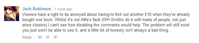 Viewer annoyed at Alfie.