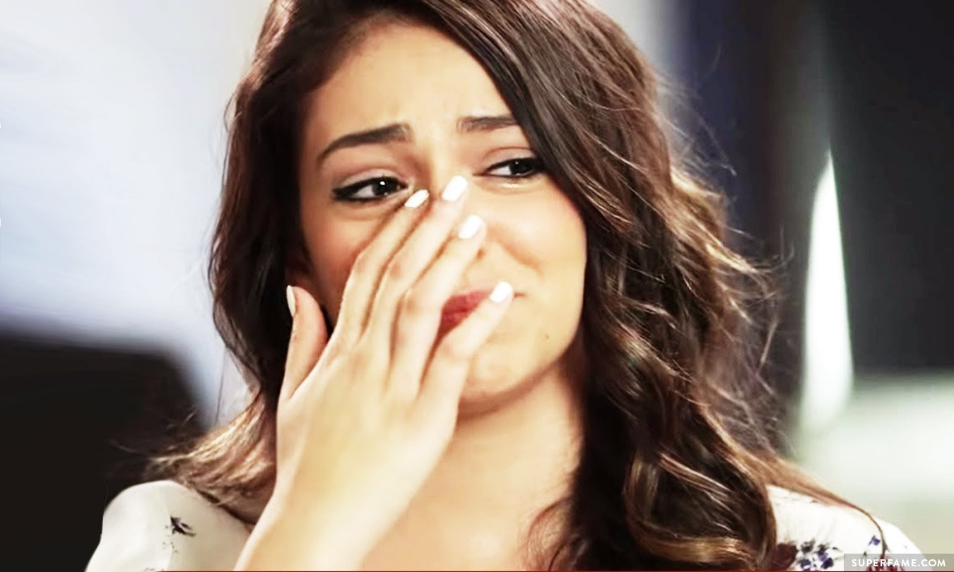 Bethany Mota crying.