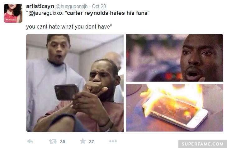 Fan shades Carter Reynolds.