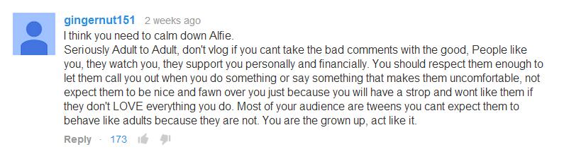 Respect fans, Alfie.