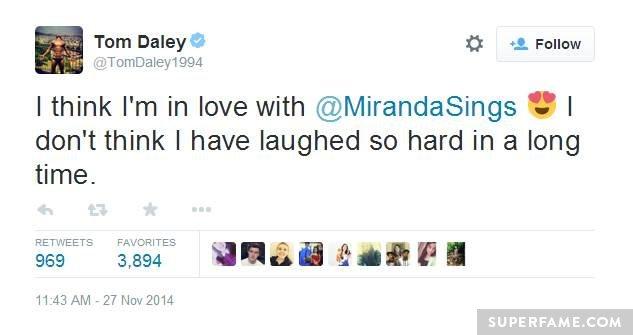 Tom laughs at Miranda.