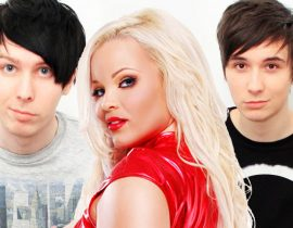 Trisha Paytas with Dan Howell and Phil Lester.