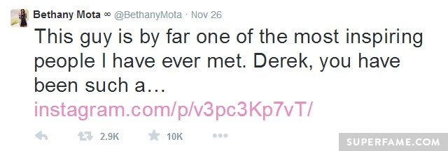 Bethany's first tweet.