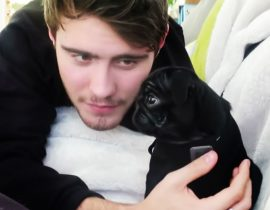 Alfie Deyes with puppy Nala.