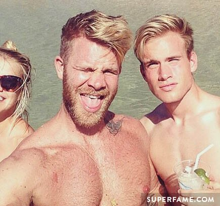 Austin Rhodes and Justin Andersson at the beach.
