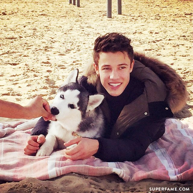 Cameron Dallas with puppy.