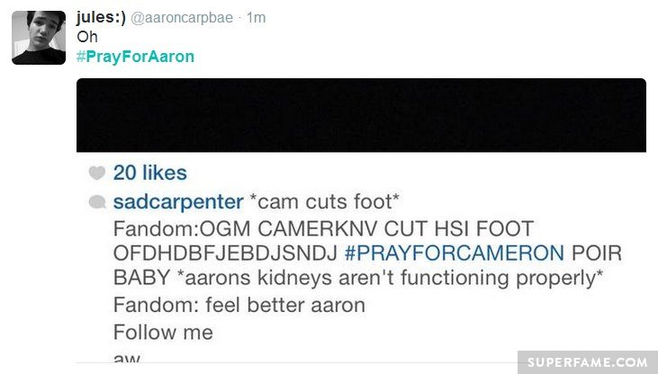 Cameron cuts foot.