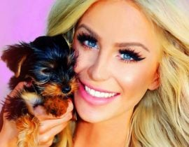 Gigi Gorgeous with new dog.
