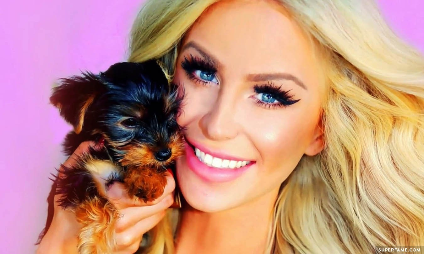 Gigi Gorgeous with new dog.