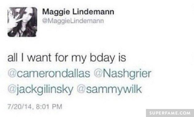 Maggie's birthday tweet.