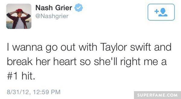 Nash Grier shades Taylor.
