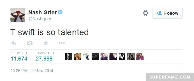 Nash Grier tweets Taylor.