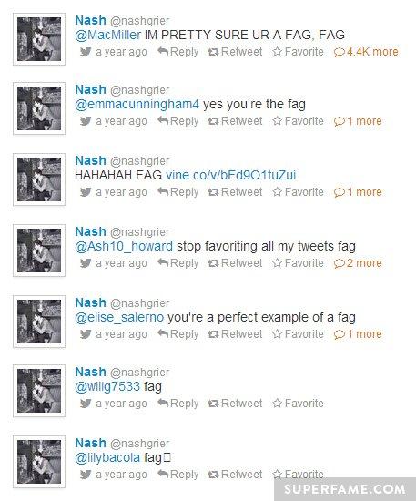 Nash's offensive fag tweets.