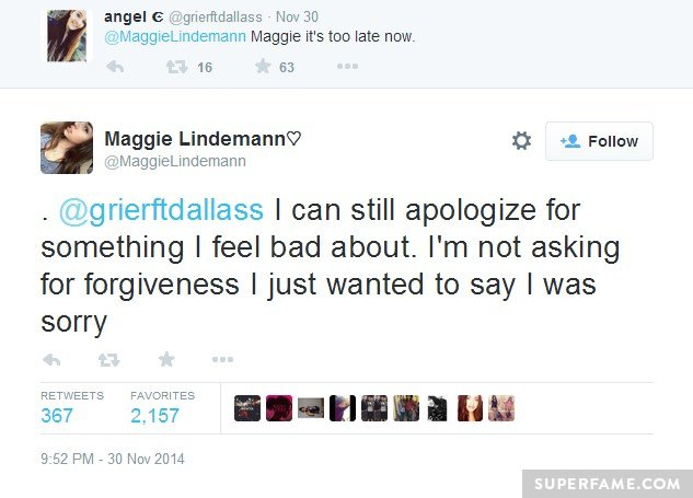 Maggie's sorry.
