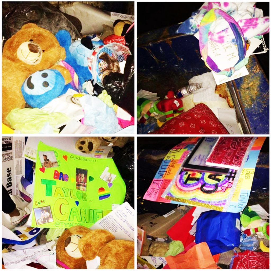 Taylor Caniff throws away gifts.