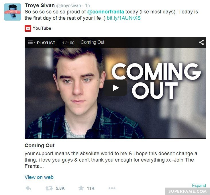 Troye Sivan supports Connor.