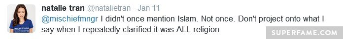 Did not mention Islam