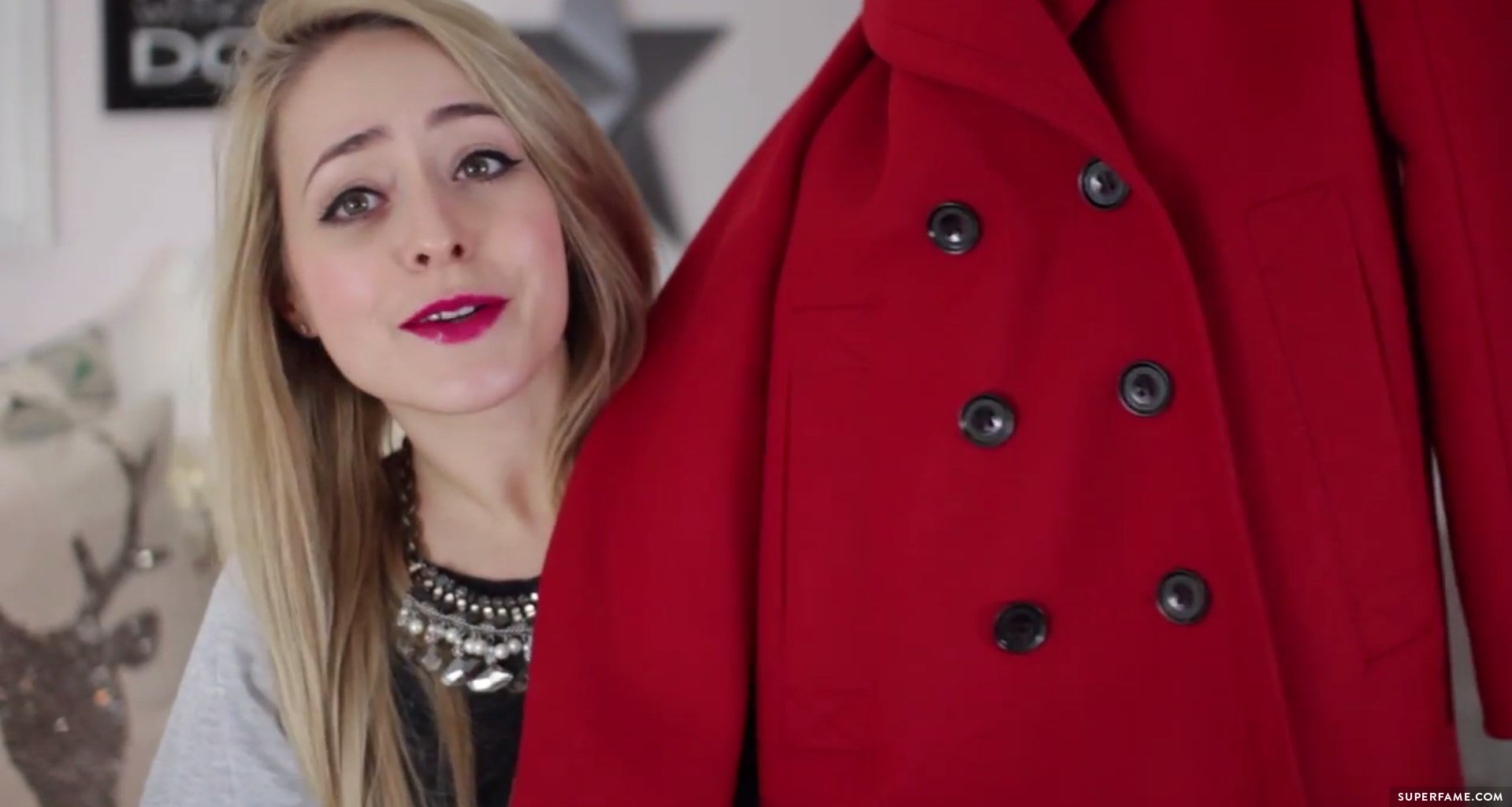 Fleur's red Burberry Brit coat.