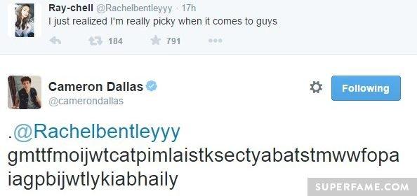 Cameron Dallas tweets Rachel.
