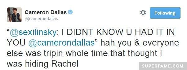 Cameron tweets he wasn't hiding Rachel.