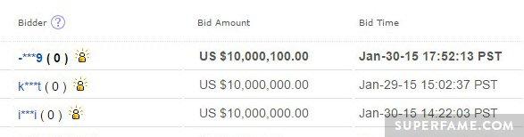 Suspicious eBay bids.