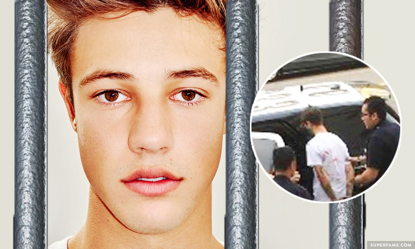 Cameron Dallas' mugshot arrest in jail.