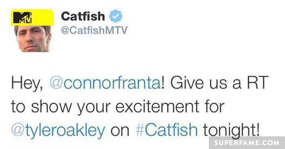 Catfish tweets Connor to retweet for Tyler.