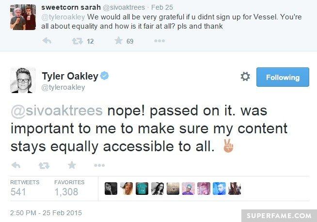 Tyler Oakley hates Vessel.