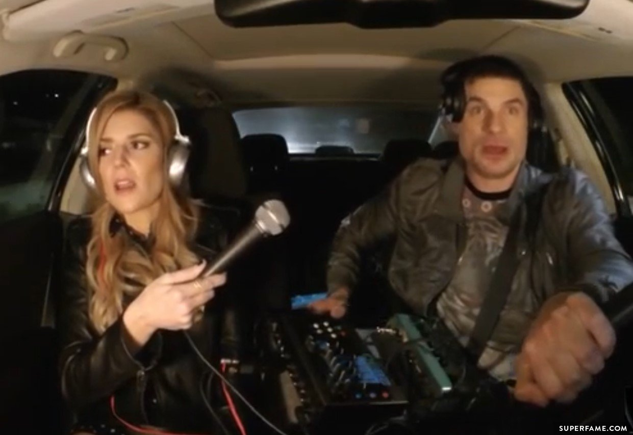 DJ Flula Borg with Grace Helbig.