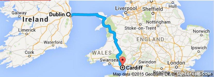 Dublin to Cardiff.