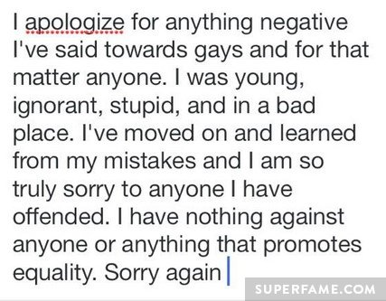 Nash says sorry.