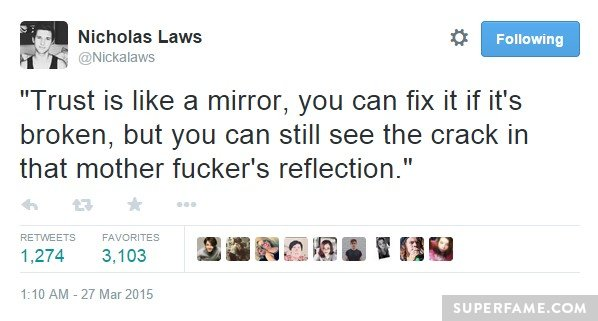 Nick Laws' Lady Gaga quote.