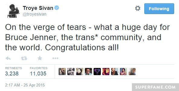 Troye Sivan in tears.