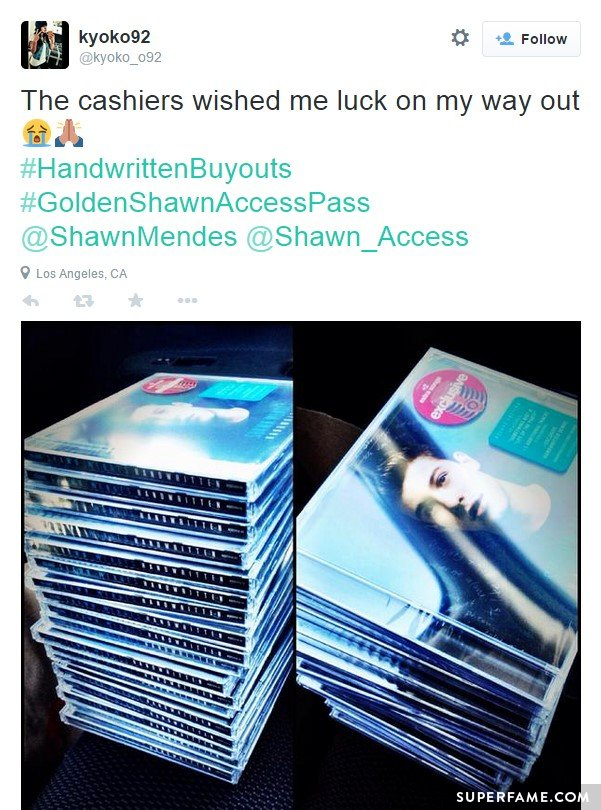 Fan buys many copies of Handwritten.