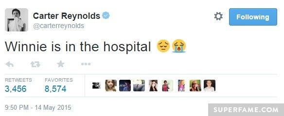 Last week, Winnie in hospital.