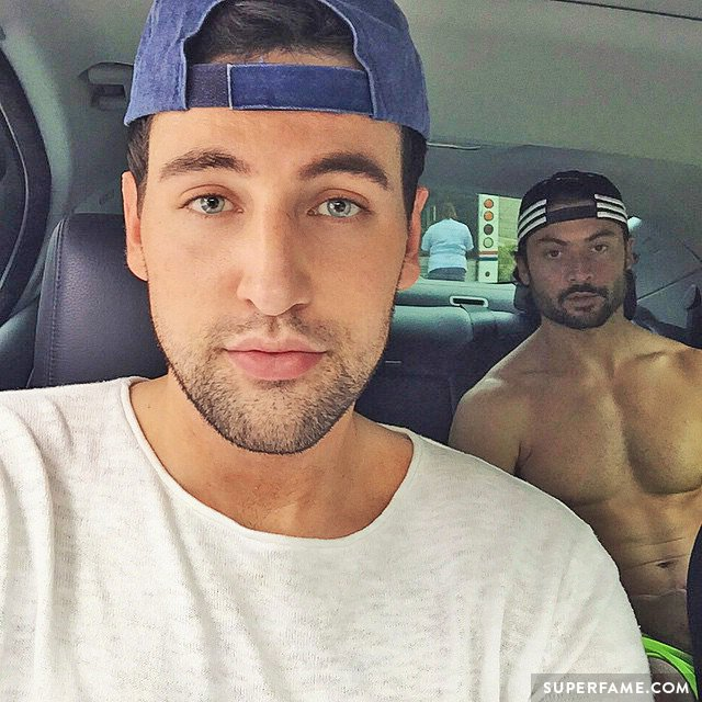 Alx James with a friend in the car.
