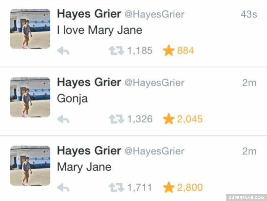 Hayes loves Mary Jane.