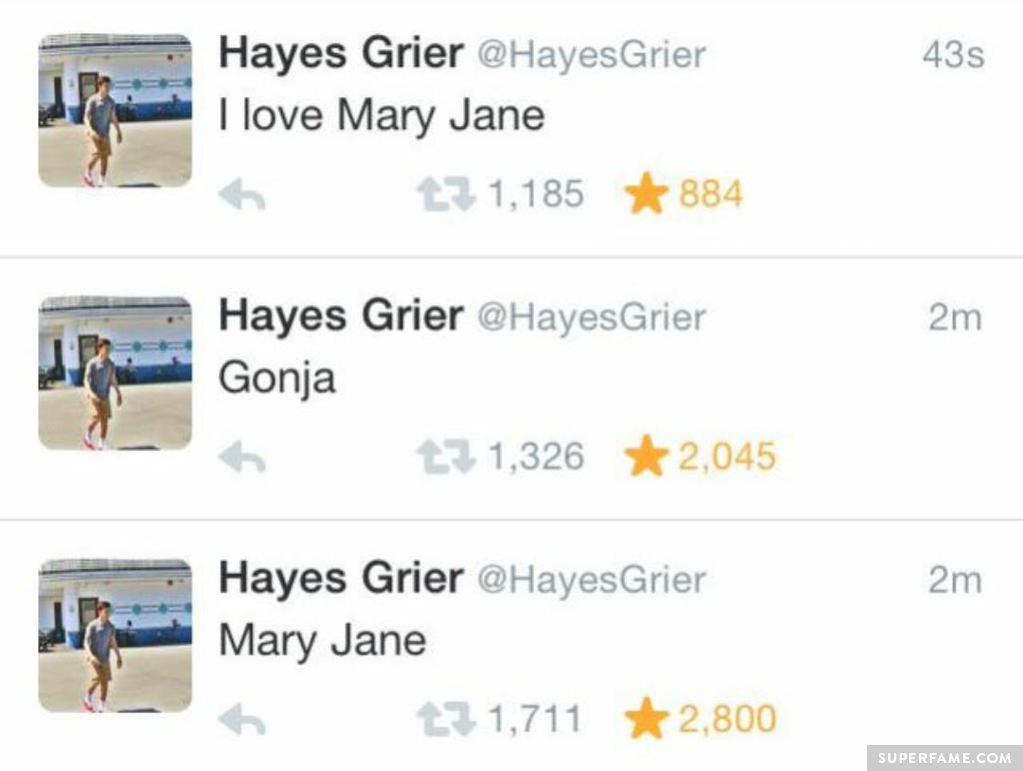 Hayes loves Mary Jane.