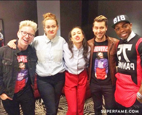 Miranda with Todrick, Lance Bass and Tyler Oakley.