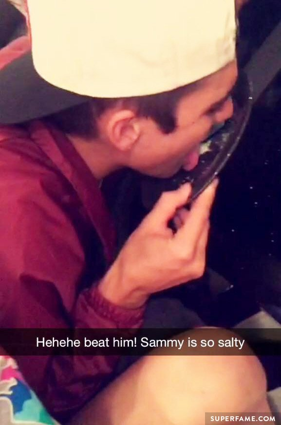 Sammy Wilk licking up the salt.