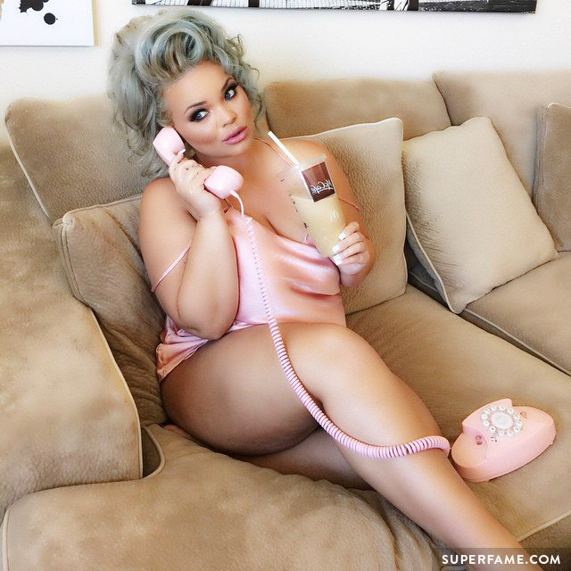 Trisha Paytas on the sofa.