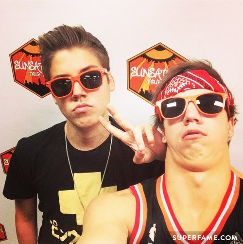 Matt Espinosa and Taylor Caniff in sunglasses.