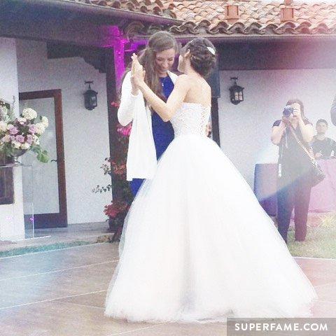 Rachel Ballinger dances with her sister Colleen.