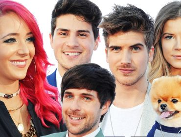 Anthony Padilla and Ian Hecox, with Jenna Marbles and Joey Graceffa.