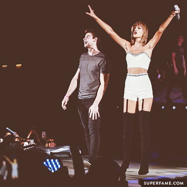 Shawn Mendes with Taylor Swift.