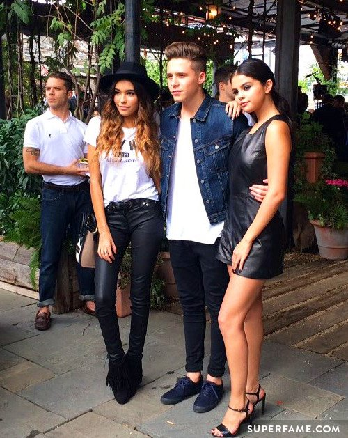 Madison Beer with Brooklyn Beckham and Selena Gomez.