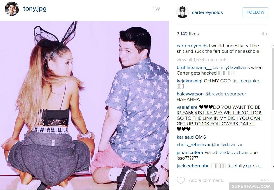 A hacker posted an x-rated Ariana-related caption.