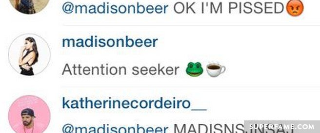 Madison commented on the Instagram screenshot.